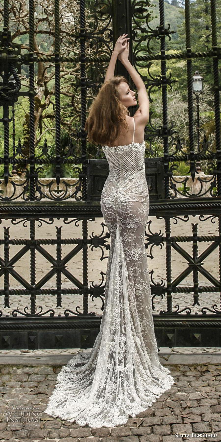 netta benshabu 2017 bridal spaghetti strap sleeveless full embellishment elegant sexy sheath wedding dress medium train (18) bv