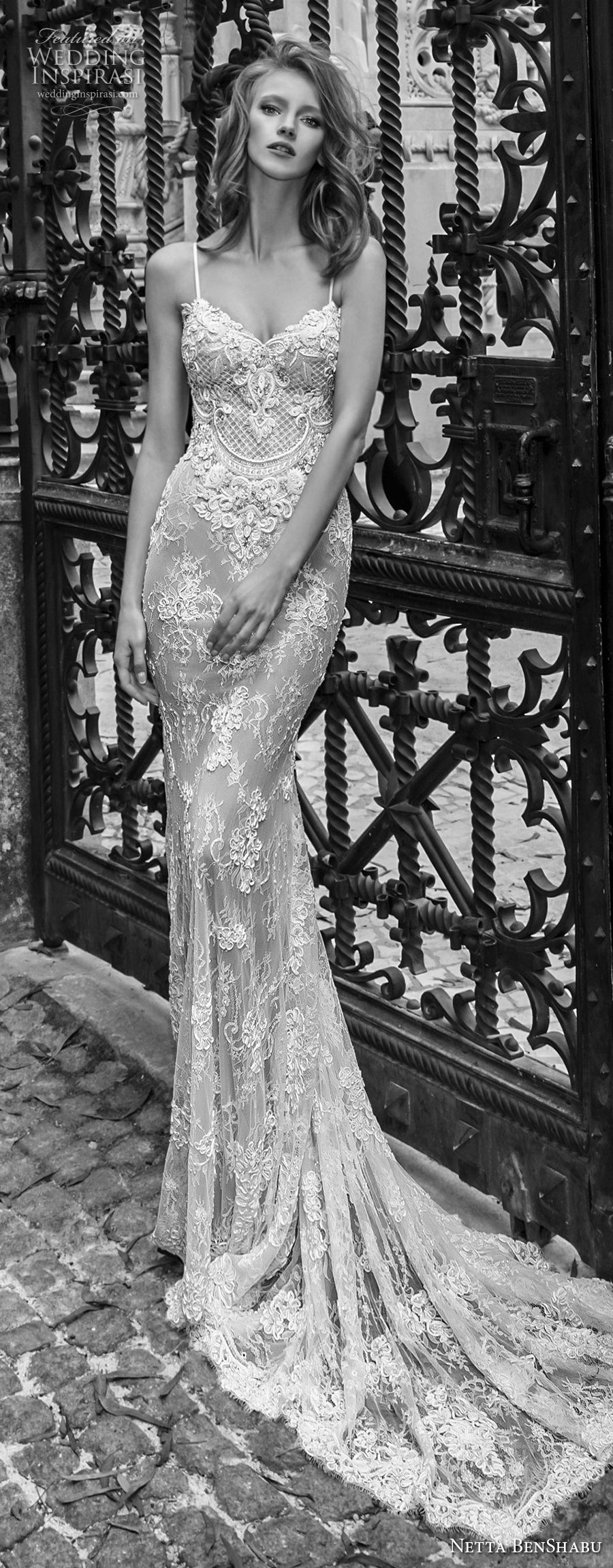 netta benshabu 2017 bridal spaghetti strap sleeveless full embellishment elegant sexy sheath wedding dress medium train (18) mv