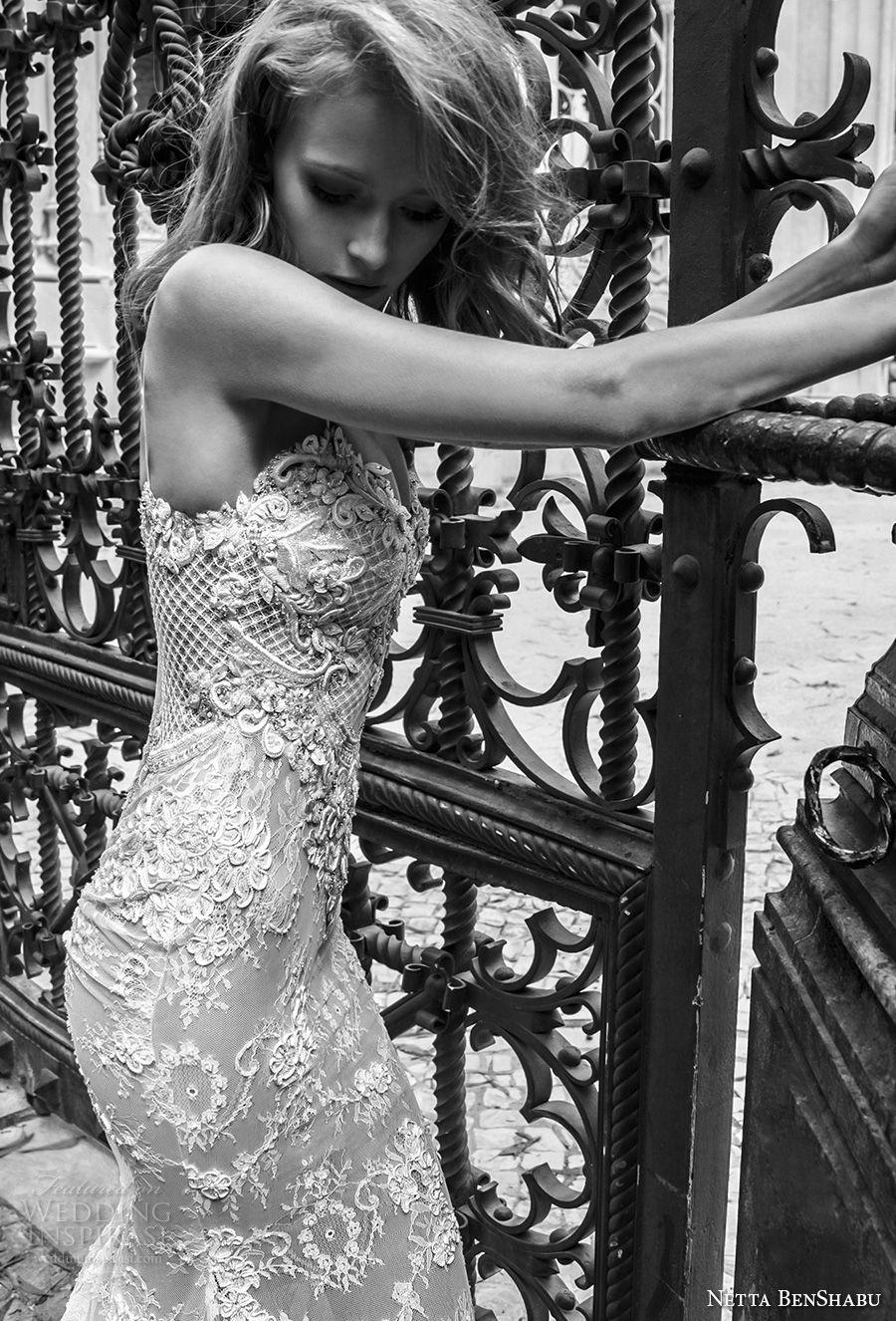 netta benshabu 2017 bridal spaghetti strap sleeveless full embellishment elegant sexy sheath wedding dress medium train (18) sdv
