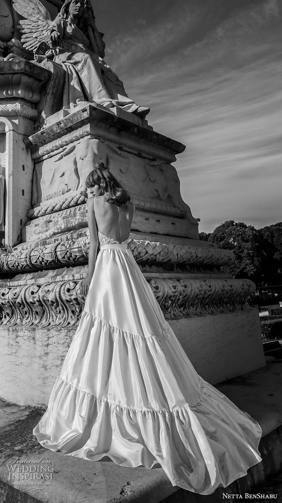 netta benshabu 2017 bridal spaghetti strap sleeveless sweetheart neckline heavily embellished bodice romantic a  line wedding dress open back chapel train (22) bv