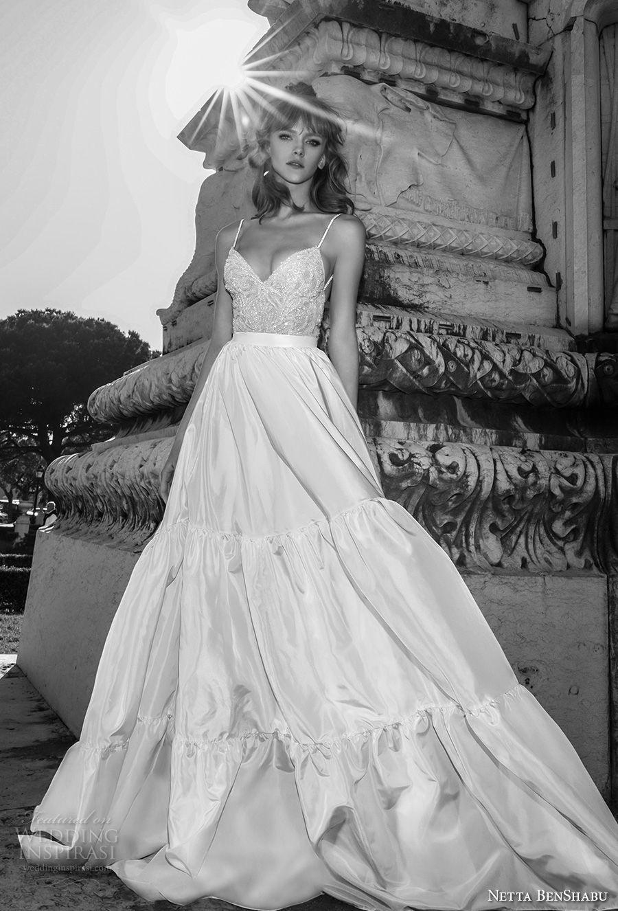 netta benshabu 2017 bridal spaghetti strap sleeveless sweetheart neckline heavily embellished bodice romantic a  line wedding dress open back chapel train (22) mv