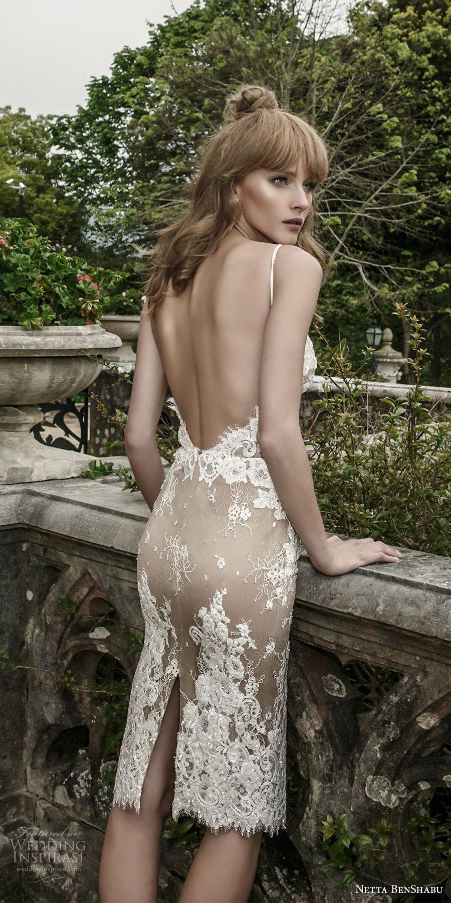 netta benshabu 2017 bridal spaghetti strap sweetheart neckline full embellishment elegant nude color sheath short wedding dress open back (2) bv