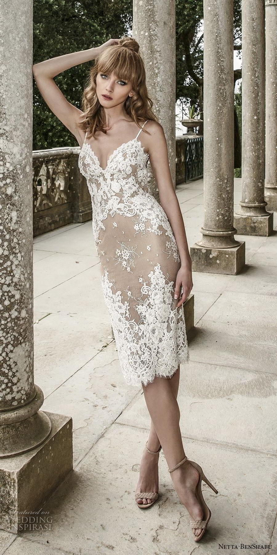 netta benshabu 2017 bridal spaghetti strap sweetheart neckline full embellishment elegant nude color sheath short wedding dress open back (2) mv