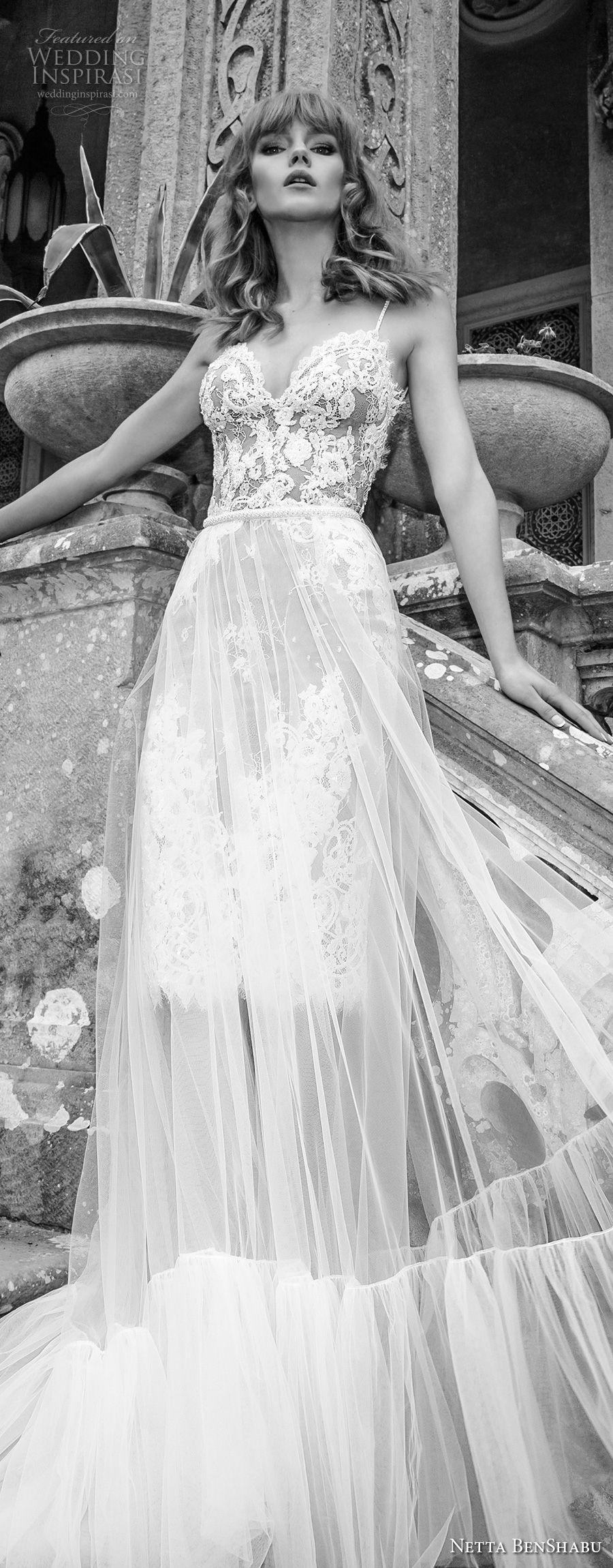 netta benshabu 2017 bridal spaghetti strap sweetheart neckline heavily embellished bodice tulle skirt romantic soft a  line wedding dress open back chapel train (2) lv