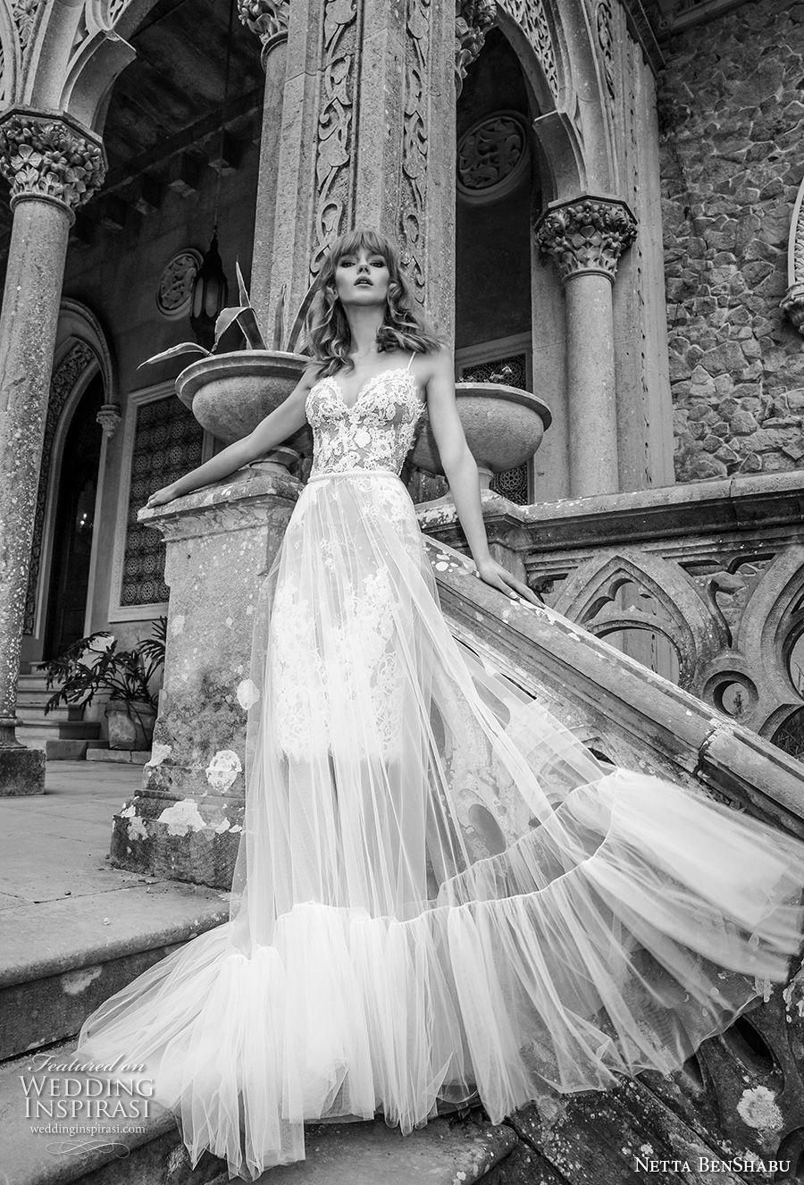 netta benshabu 2017 bridal spaghetti strap sweetheart neckline heavily embellished bodice tulle skirt romantic soft a  line wedding dress open back chapel train (2) mv