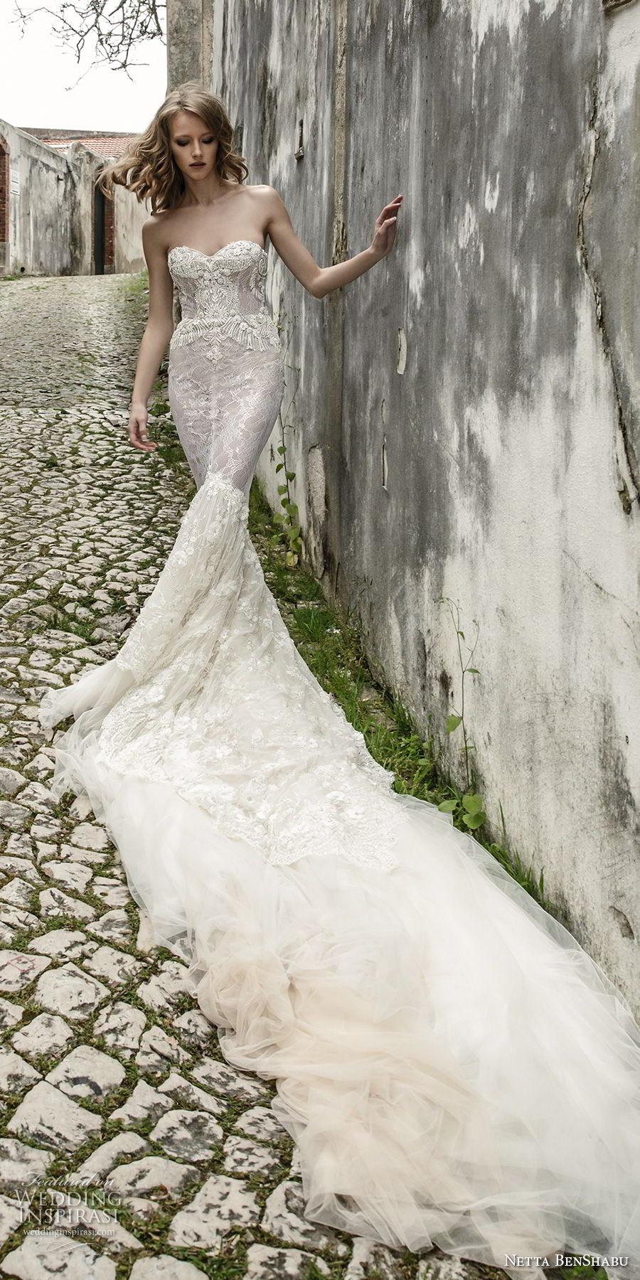 netta benshabu 2017 bridal strapless sweetheart neckline full embellishment elegant sexy fit and flare mermaid wedding dress chapel train (20) mv