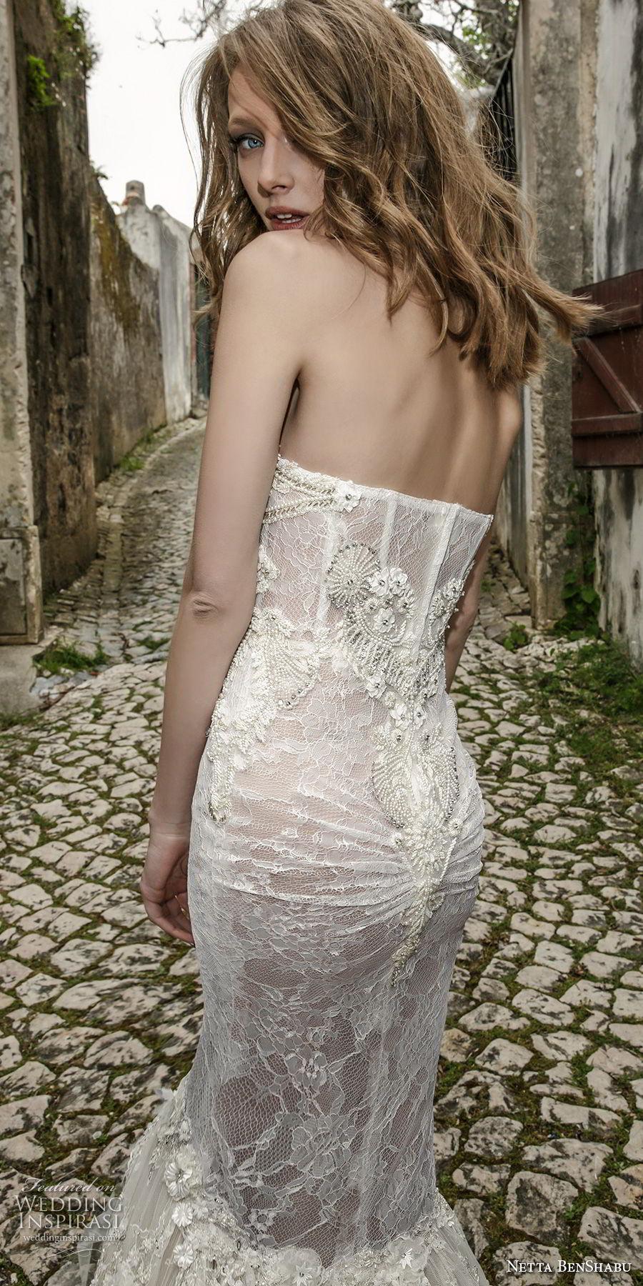 netta benshabu 2017 bridal strapless sweetheart neckline full embellishment elegant sexy fit and flare mermaid wedding dress chapel train (20) zbv
