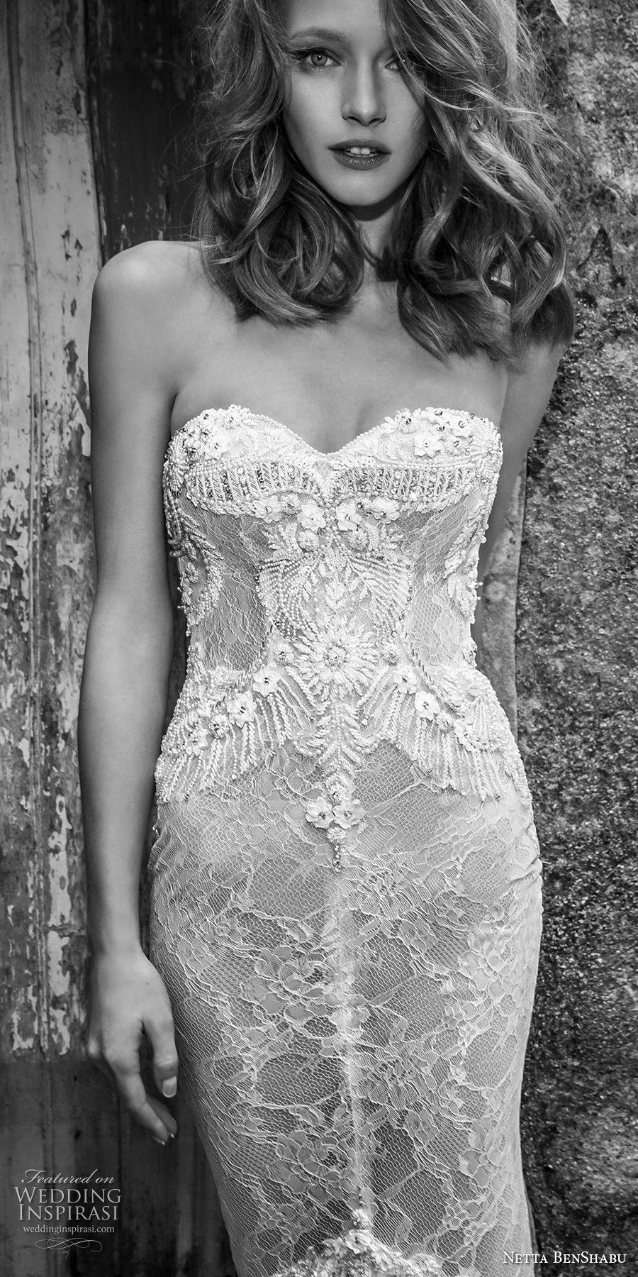 netta benshabu 2017 bridal strapless sweetheart neckline full embellishment elegant sexy fit and flare mermaid wedding dress chapel train (20) zv