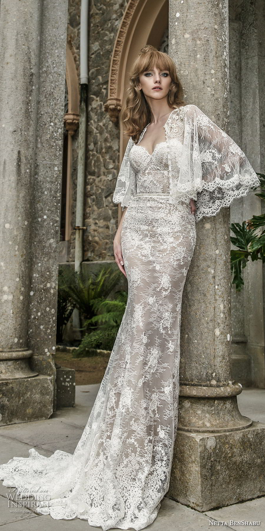 netta benshabu 2017 bridal strapless sweetheart neckline full embellishment elegant sheath wedding dress chapel train (14) mv fv