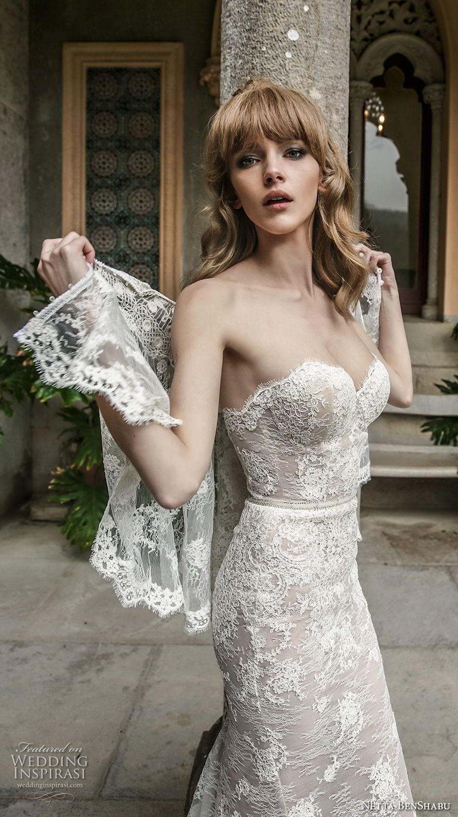 netta benshabu 2017 bridal strapless sweetheart neckline full embellishment elegant sheath wedding dress chapel train (14) zv