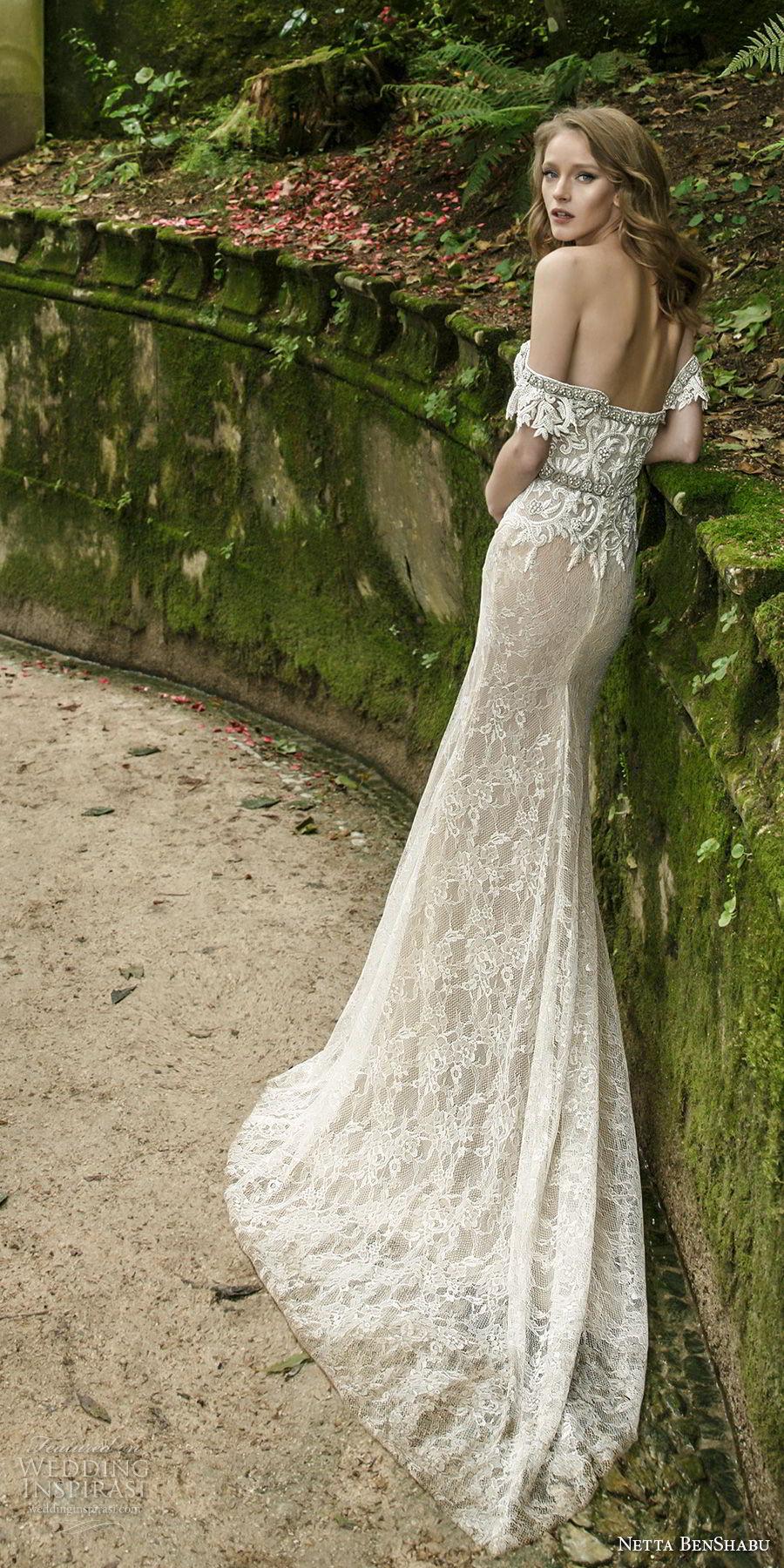 netta benshabu 2017 bridal strapless sweetheart neckline full embellishment high slit skirt sexy glamorous sheath wedding dress sweep train (8) bv