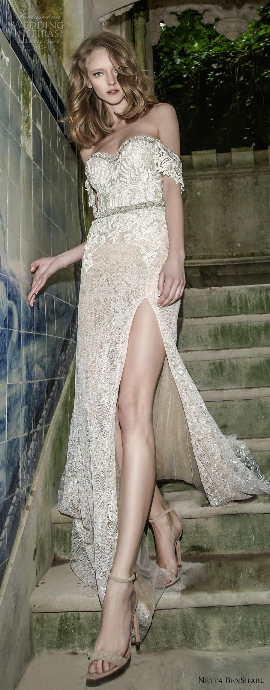 netta benshabu 2017 bridal strapless sweetheart neckline full embellishment high slit skirt sexy glamorous sheath wedding dress sweep train (8) lv