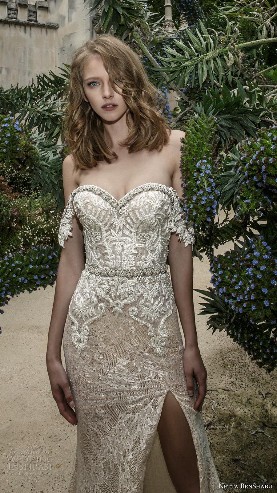 netta benshabu 2017 bridal strapless sweetheart neckline full embellishment high slit skirt sexy glamorous sheath wedding dress sweep train (8) mv