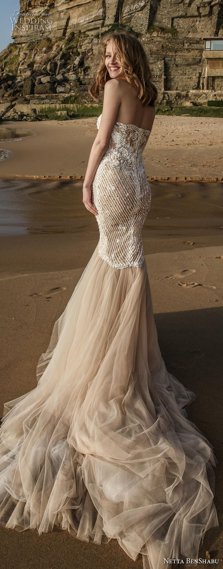 netta benshabu 2017 bridal strapless sweetheart neckline heaily embellished bodice elegant sexy mermaid wedding dress chapel train (23) bv