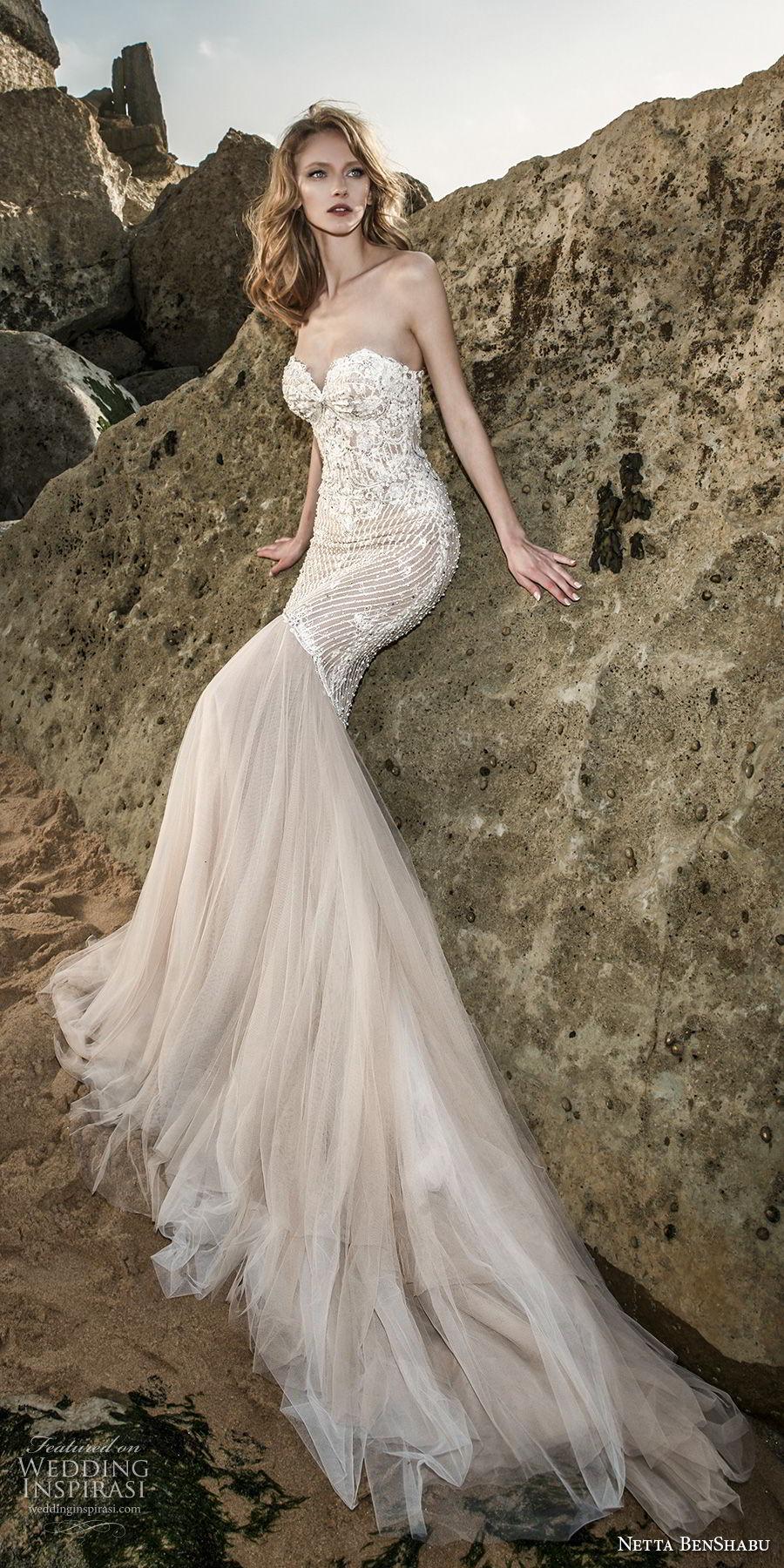 netta benshabu 2017 bridal strapless sweetheart neckline heaily embellished bodice elegant sexy mermaid wedding dress chapel train (23) mv