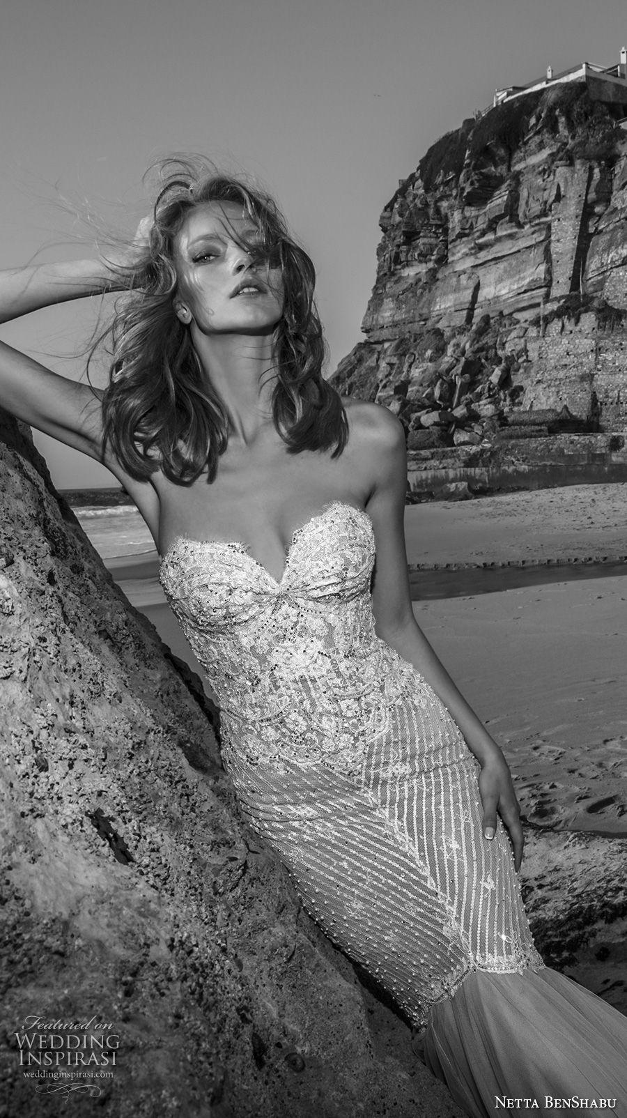 netta benshabu 2017 bridal strapless sweetheart neckline heaily embellished bodice elegant sexy mermaid wedding dress chapel train (23) zv