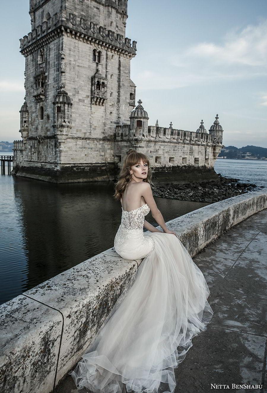 netta benshabu 2017 bridal strapless sweetheart neckline heavily embellished bodice elegant sexy mermaid wedding dress chapel train (27) bv