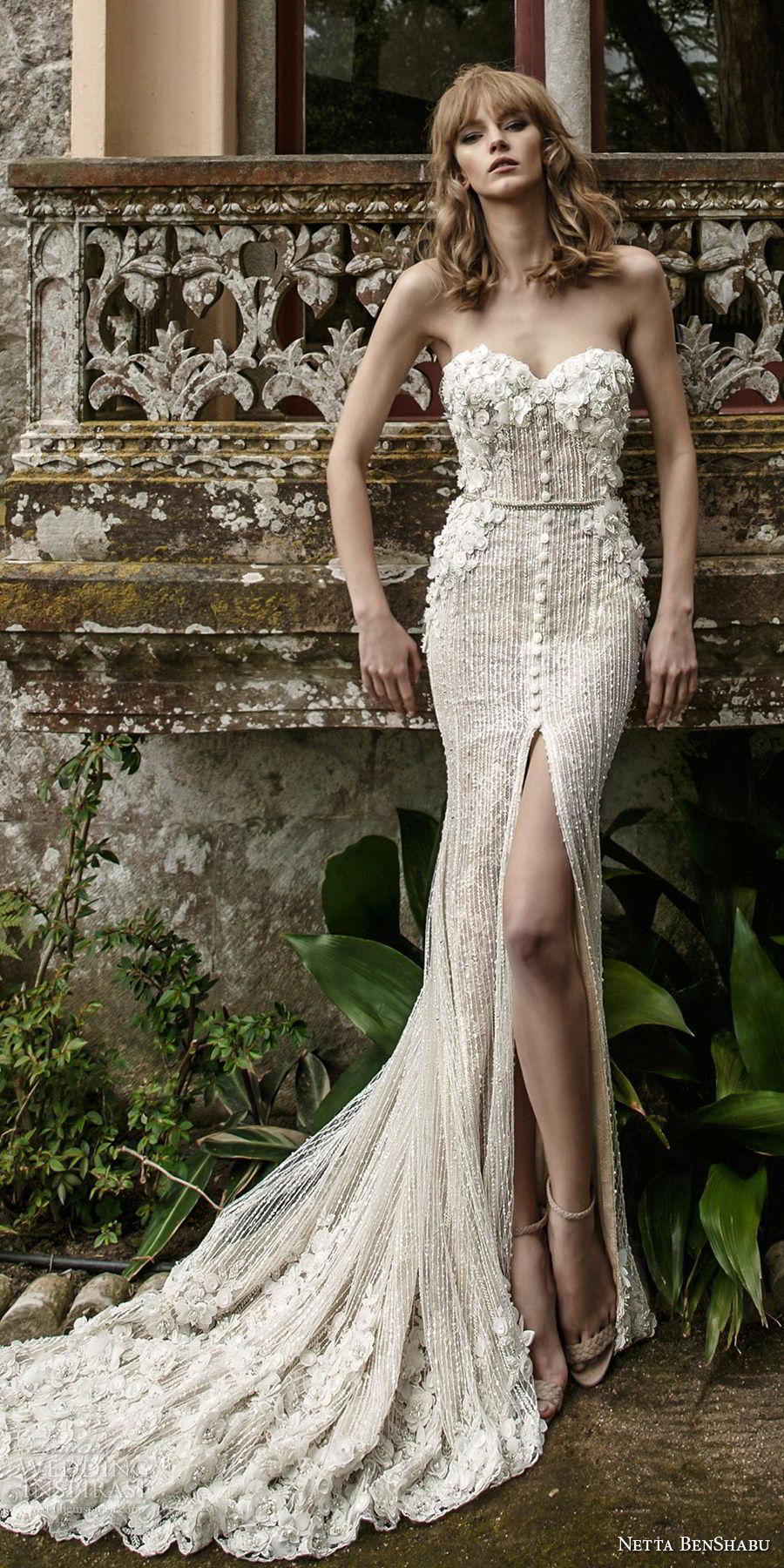 netta benshabu 2017 bridal strapless sweetheart neckline heavily embellished bodice high slit skirt elegant sheath wedding dress chapel train (3) mv