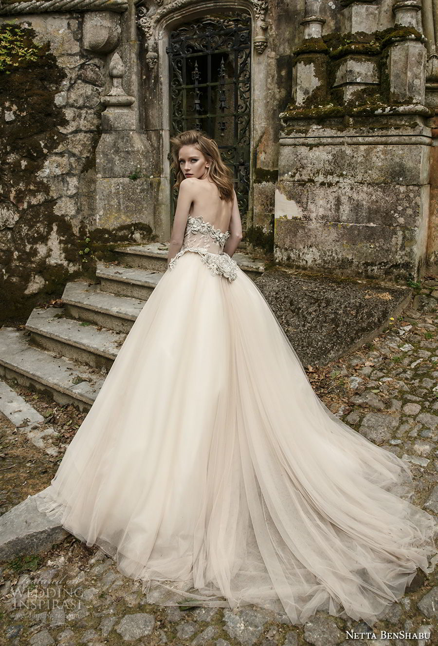 netta benshabu 2017 bridal strapless sweetheart neckline heavily embellished bodice nude color romantic a  line wedding dress chapel train (7) bv