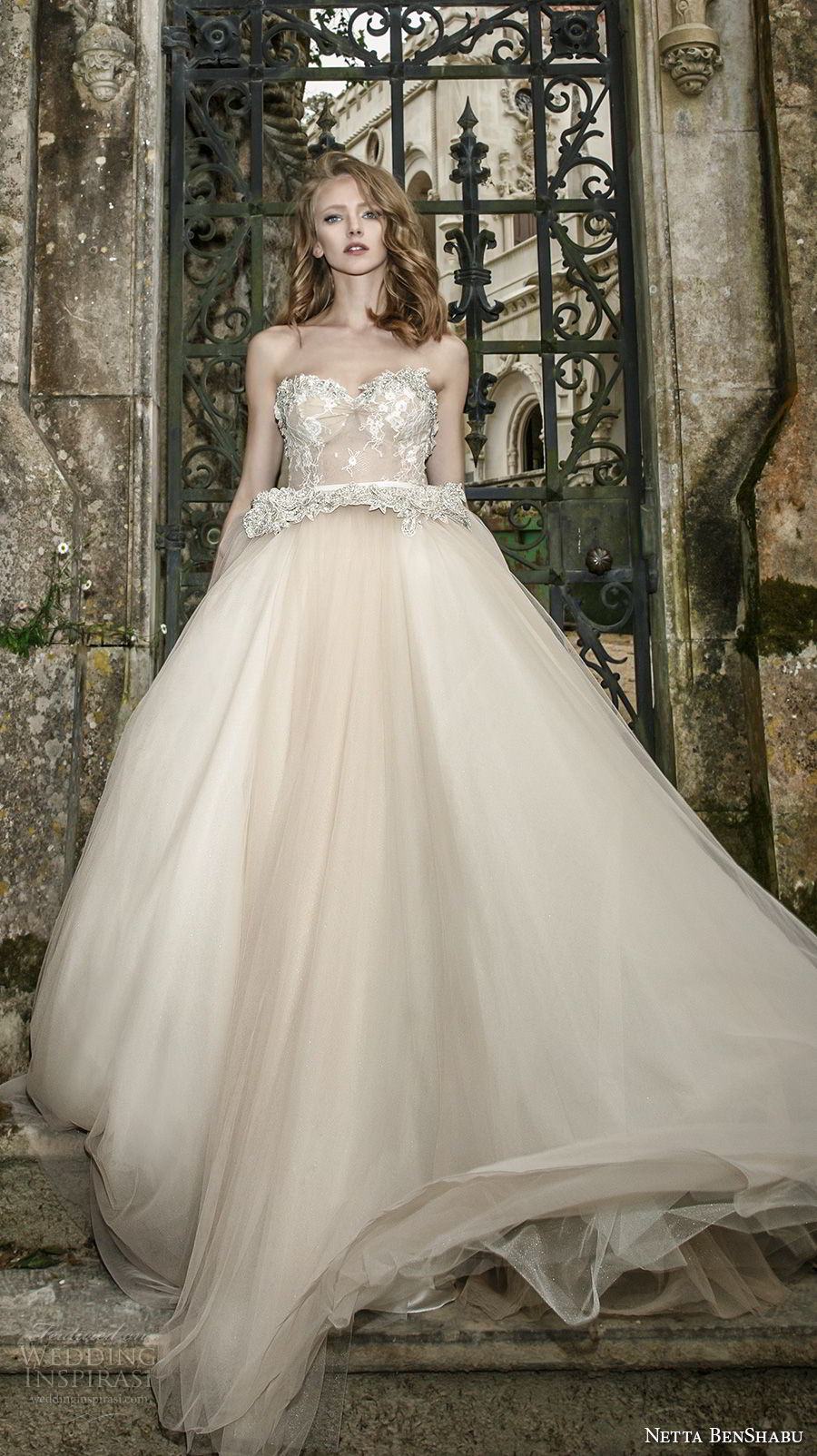 netta benshabu 2017 bridal strapless sweetheart neckline heavily embellished bodice nude color romantic a line wedding dress chapel train (7) mv