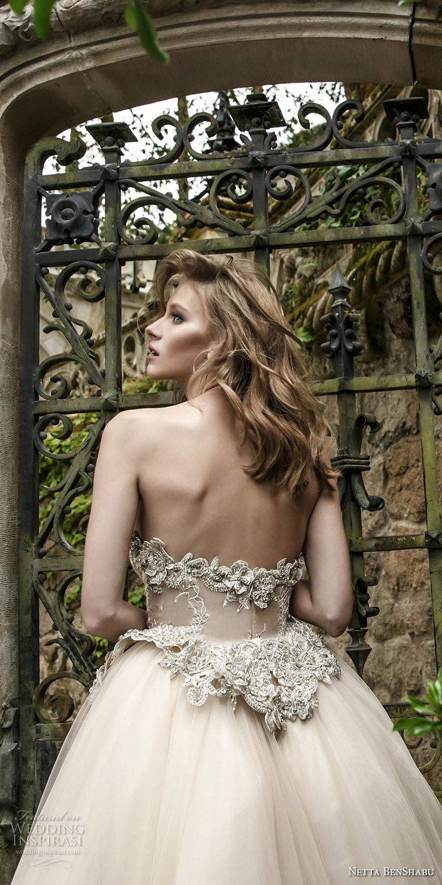 netta benshabu 2017 bridal strapless sweetheart neckline heavily embellished bodice nude color romantic a  line wedding dress chapel train (7) zbv