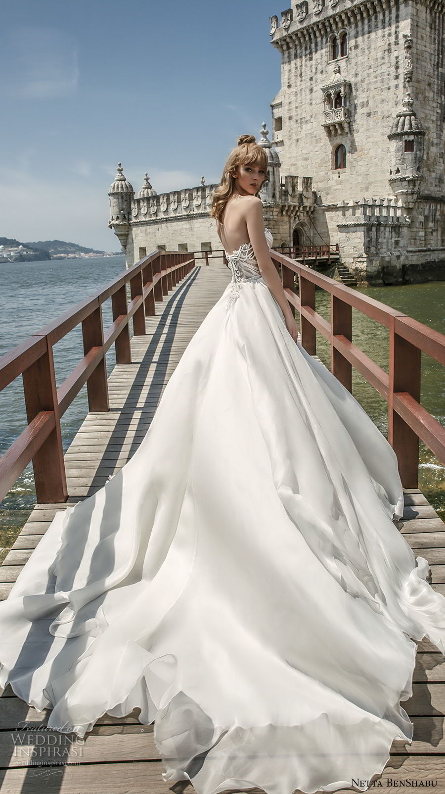 netta benshabu 2017 bridal strapless sweetheart neckline heavily embellished bodice romantic a  line wedding dress royal train (5) sdv