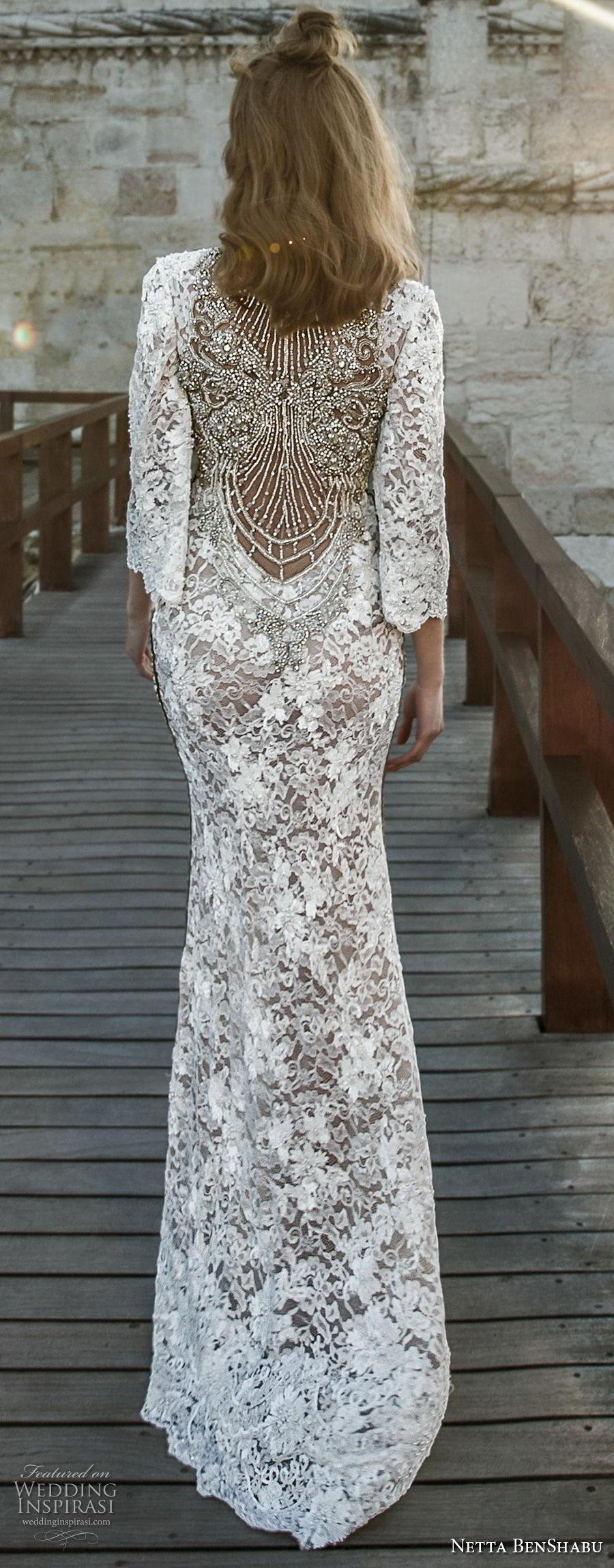 netta benshabu 2017 bridal three quarter sleeves deep v neck full embellishment elegant sexy high slit sheath wedding dress covered lace back sweep train (28) bv