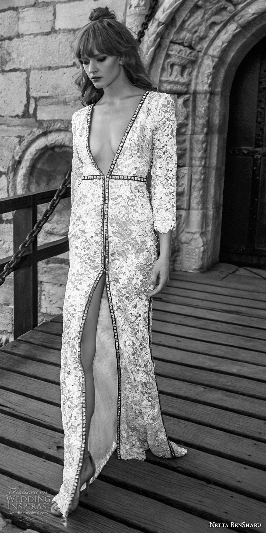 netta benshabu 2017 bridal three quarter sleeves deep v neck full embellishment elegant sexy high slit sheath wedding dress covered lace back sweep train (28) mv