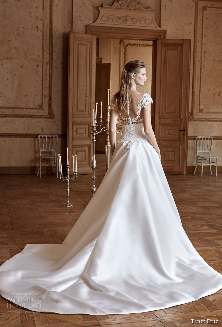 tarik ediz 2017 bridal cap sleeves illusion bateau sweetheart neckline full embellishment elegant a line wedding dress sheer button back chapel train (30) bv