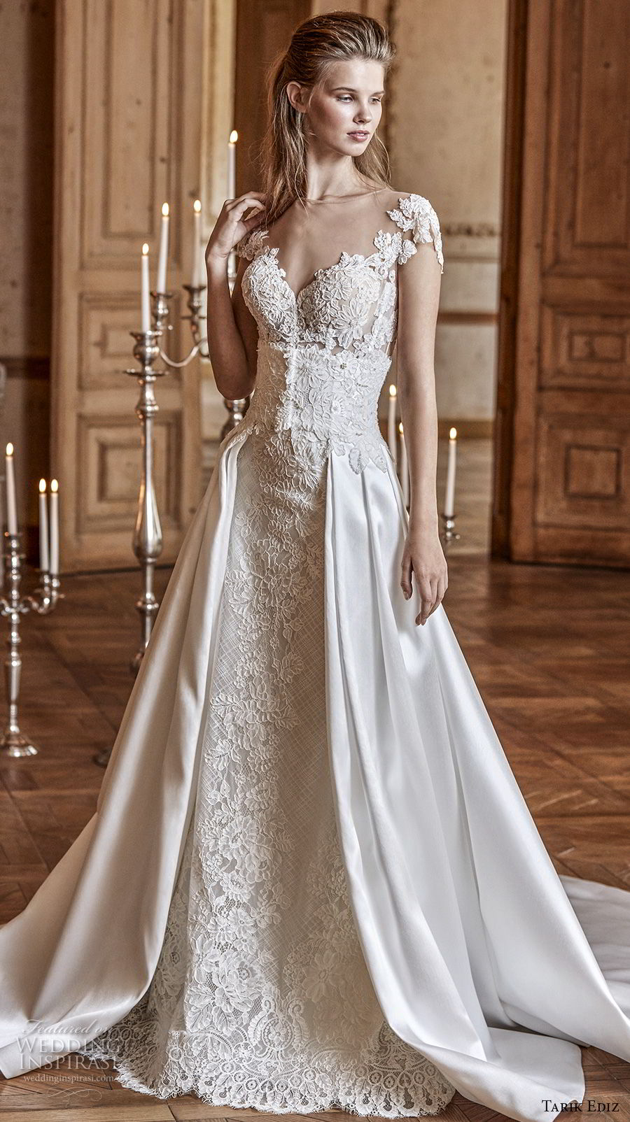 tarik ediz 2017 bridal cap sleeves illusion bateau sweetheart neckline full embellishment elegant a line wedding dress sheer button back chapel train (30) mv