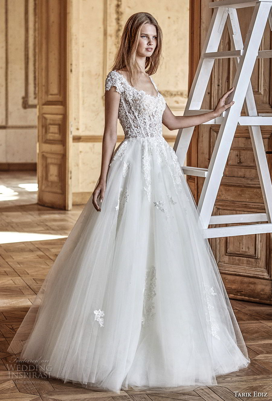 tarik ediz 2017 bridal cap sleeves scoop neckline heavily embellished bodice romantic a line wedding dress (10) mv