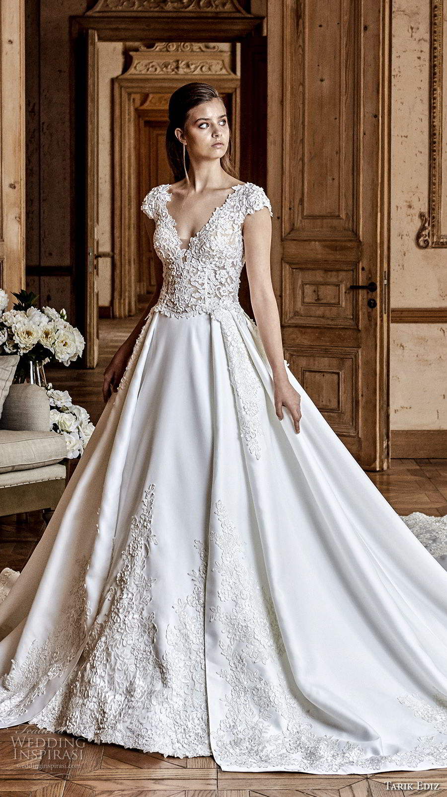 tarik ediz 2017 bridal cap sleeves v neck heavily embellished princess romantic ball gown a line wedding dress open v back royal train (23) mv