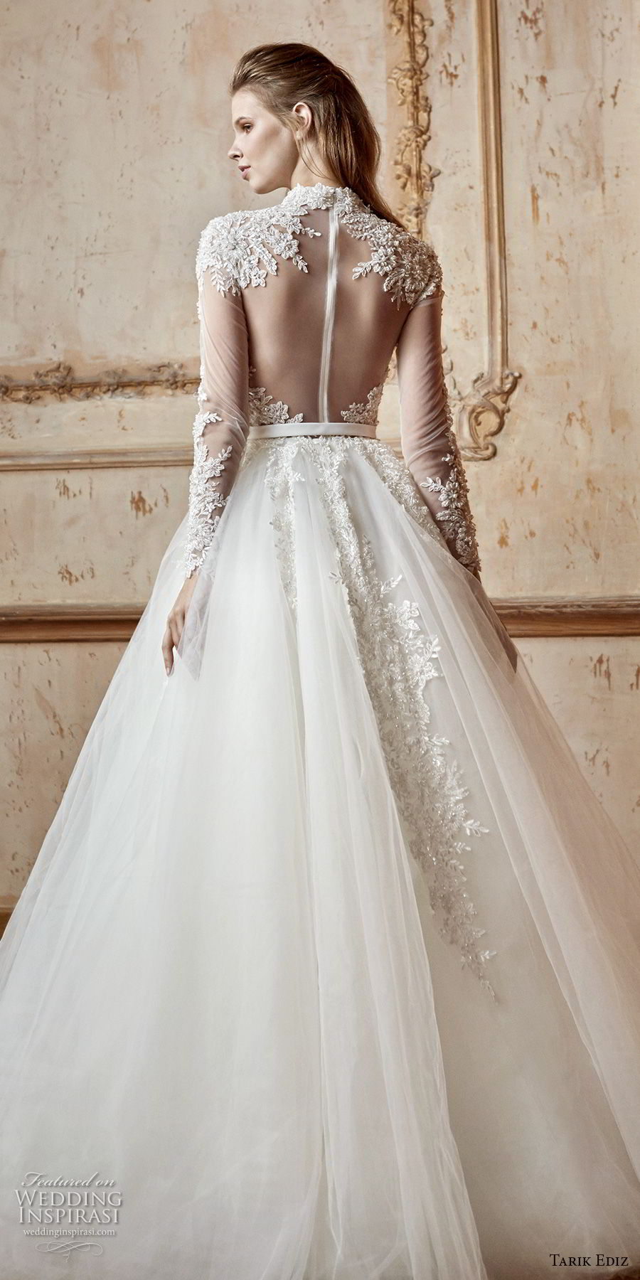 tarik ediz 2017 bridal long sleeves high neck sweetheart neckline heavily embellished bodice romantic a line wedding dress sheer button back sweep train (6) bv