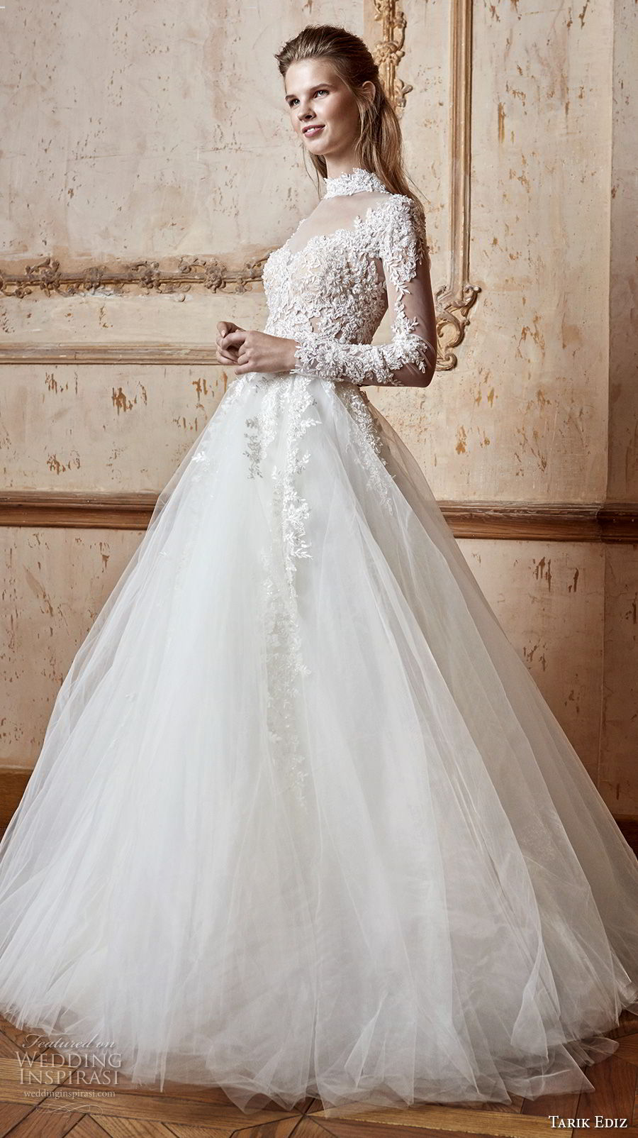 tarik ediz 2017 bridal long sleeves high neck sweetheart neckline heavily embellished bodice romantic a line wedding dress sheer button back sweep train (6) mv