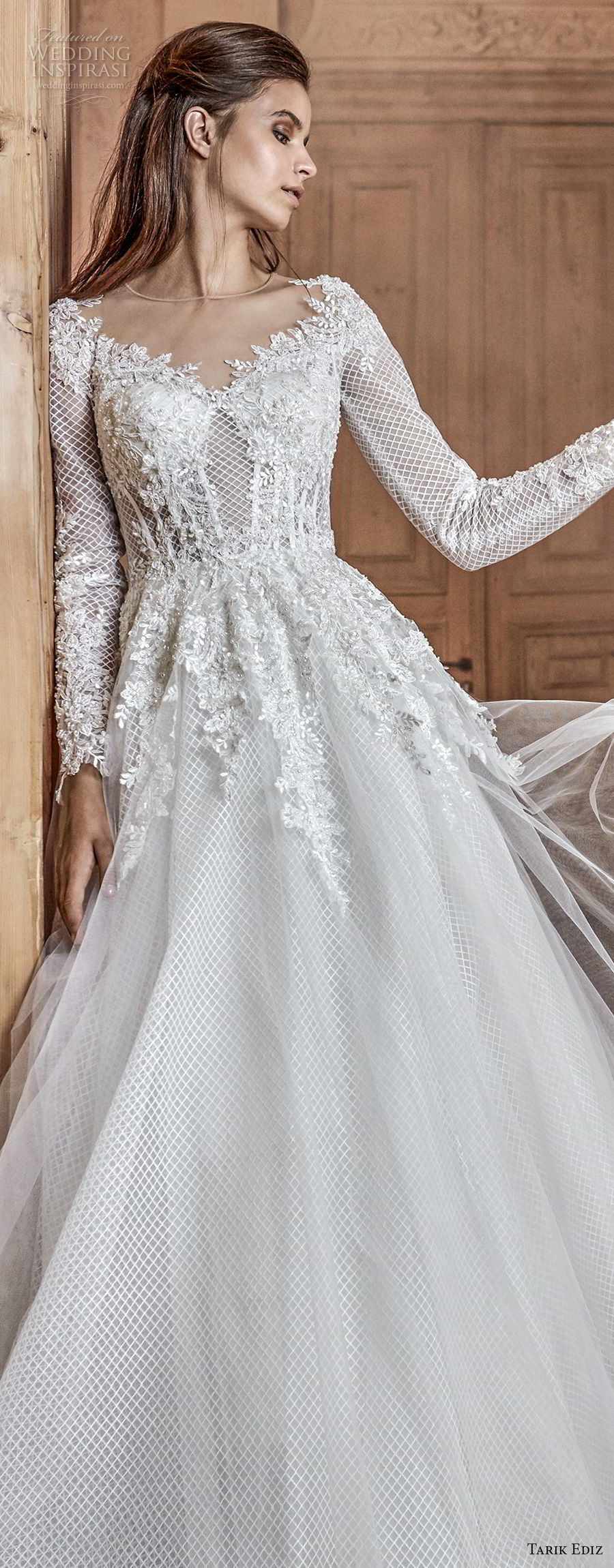 tarik ediz 2017 bridal long sleeves illusion jewel neck heavily embellished bodice romantic a line wedding dress (4) zv