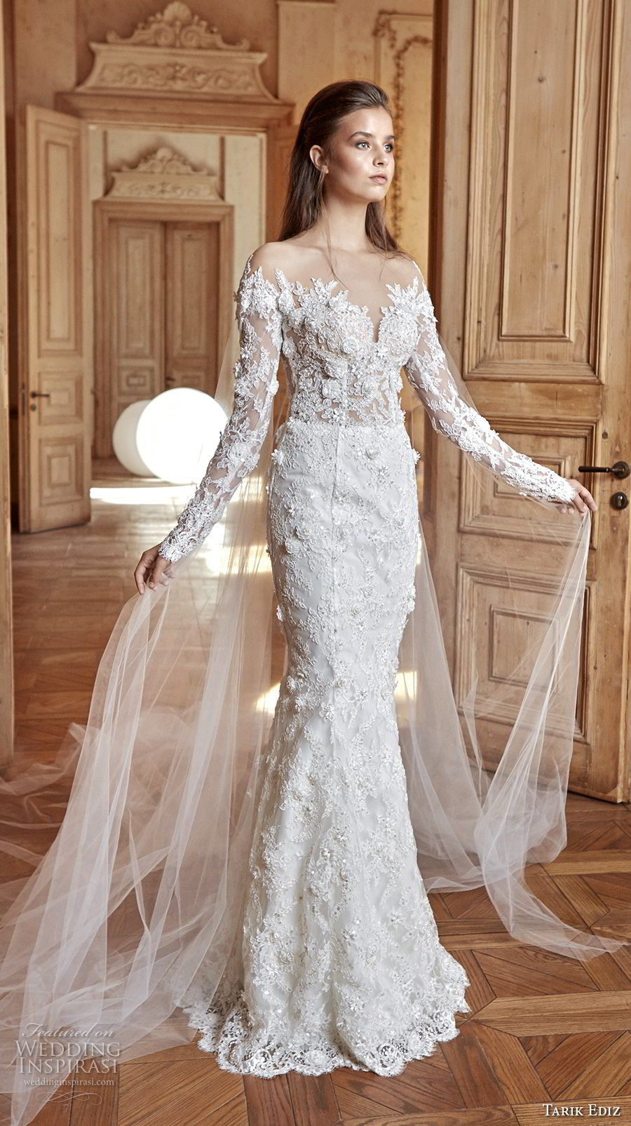 tarik ediz 2017 bridal long sleeves sweetheart neckline full embellishment elegant fit and flare wedding dress chapel train sweep train (26) mv