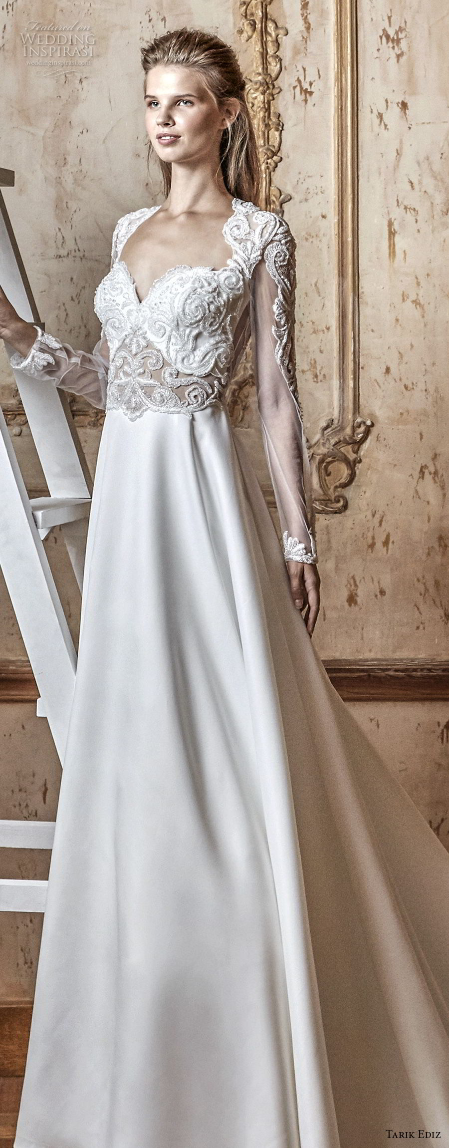 tarik ediz 2017 bridal long sleeves sweetheart neckline heavily embellished bodice modified a line wedding dress keyhole back royal train (8) lv