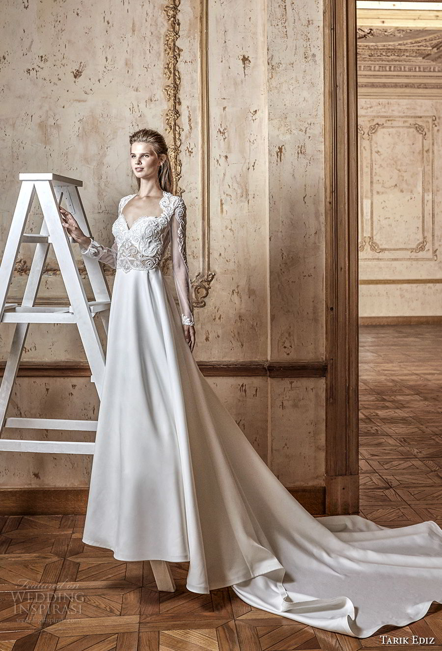 tarik ediz 2017 bridal long sleeves sweetheart neckline heavily embellished bodice modified a line wedding dress keyhole back royal train (8) mv