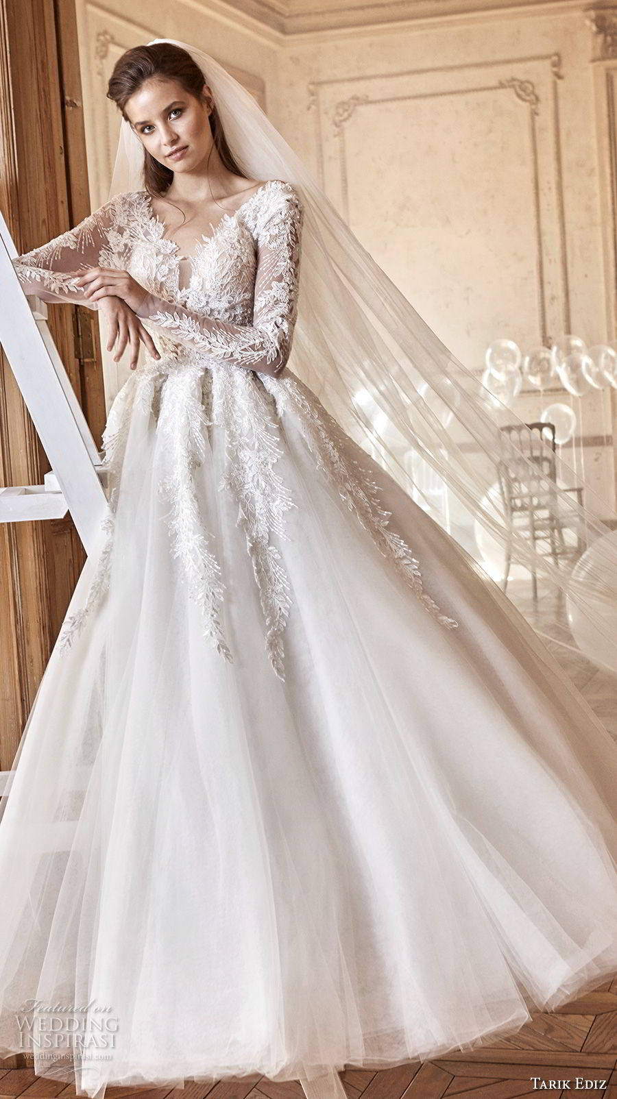 tarik ediz 2017 bridal long sleeves v neck heavily embellished bodice a line wedding dress (24) mv