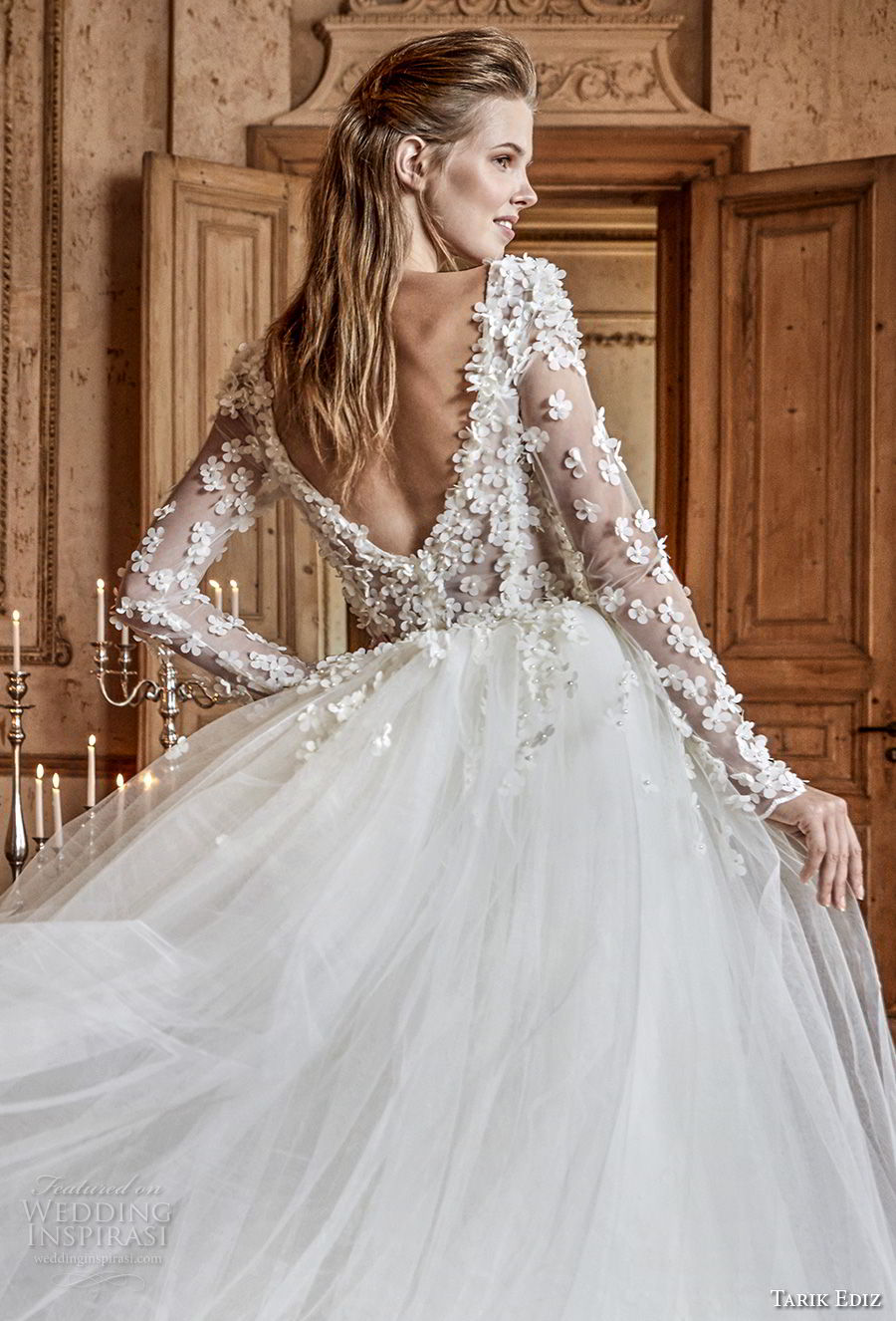 tarik ediz 2017 bridal long sleeves v neck heavily embellished bodice romantic princess ball gown a line wedding dress open v back chapel train (12) bv