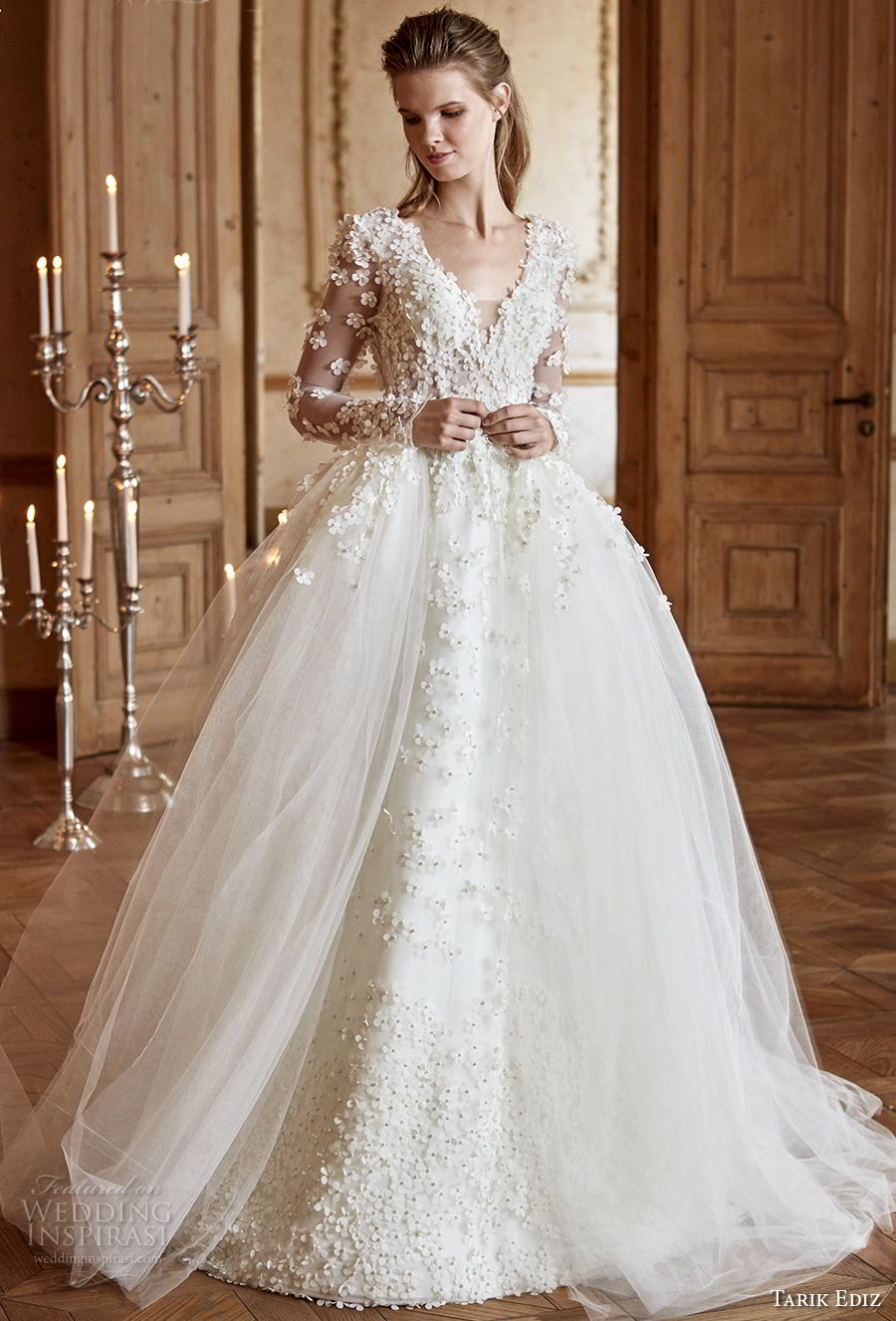 tarik ediz 2017 bridal long sleeves v neck heavily embellished bodice romantic princess ball gown a line wedding dress open v back chapel train (12) mv