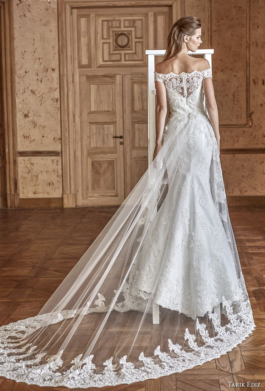 tarik ediz 2017 bridal off the shoulder straight across neckline heavily embellished bodice elegant trumpet mermaid wedding dress chapel train (9) bv