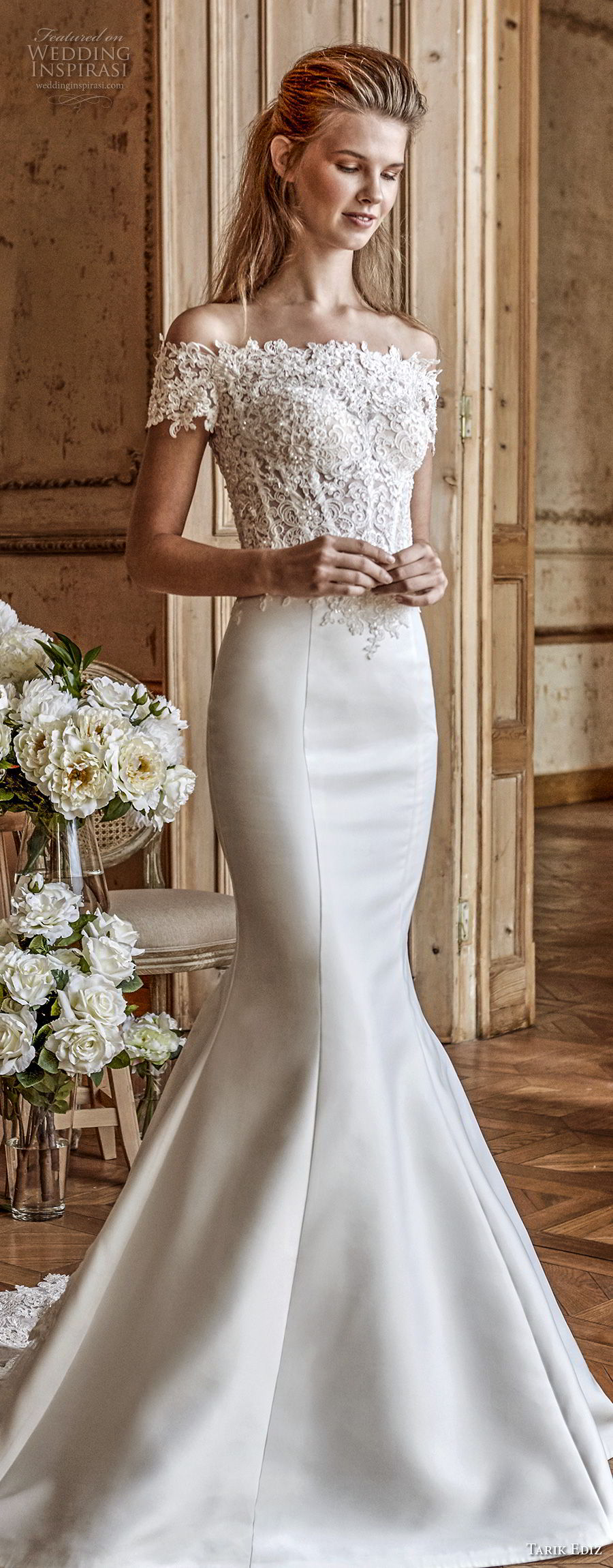 tarik ediz 2017 bridal off the shoulder straight across neckline heavily embellished bodice satin skirt elegant romantic mermaid wedding dress sheer back medium train (31) mv