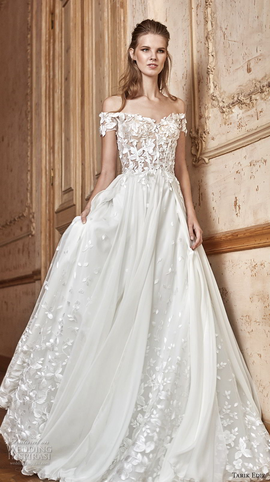 tarik ediz 2017 bridal off the shoulder sweetheart neckline heavily embellished bodice romantic a line wedding dress (28) mv