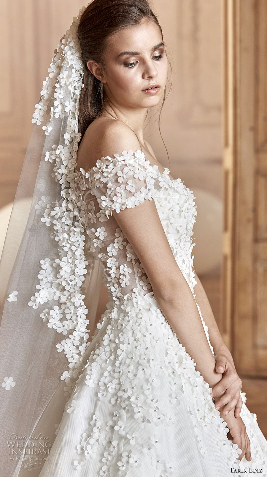tarik ediz 2017 bridal off the shoulder sweetheart neckline heavily embellished bodice romantic princess a line wedding dress (5) sdv