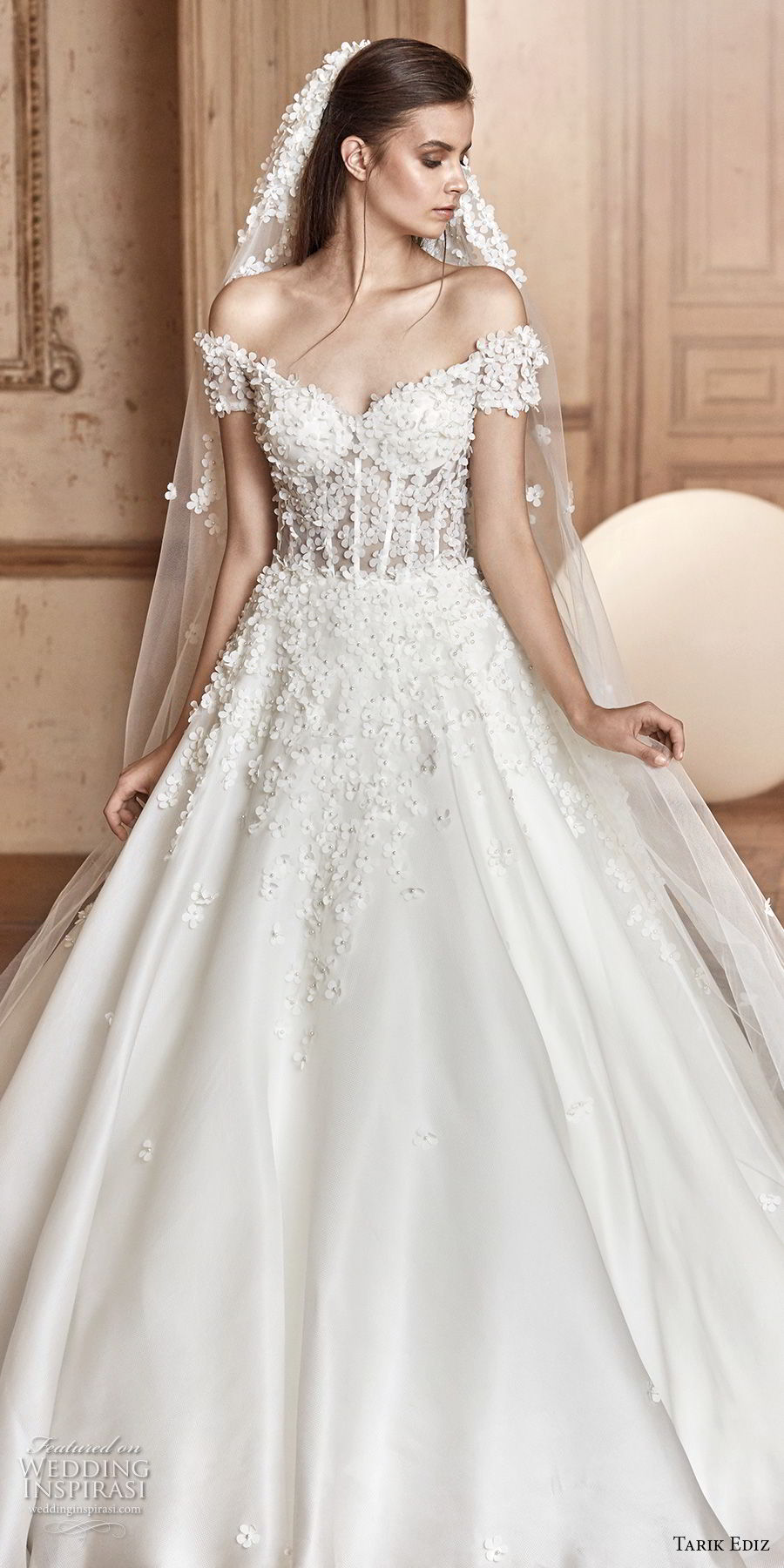 tarik ediz 2017 bridal off the shoulder sweetheart neckline heavily embellished bodice romantic princess a line wedding dress (5) zv