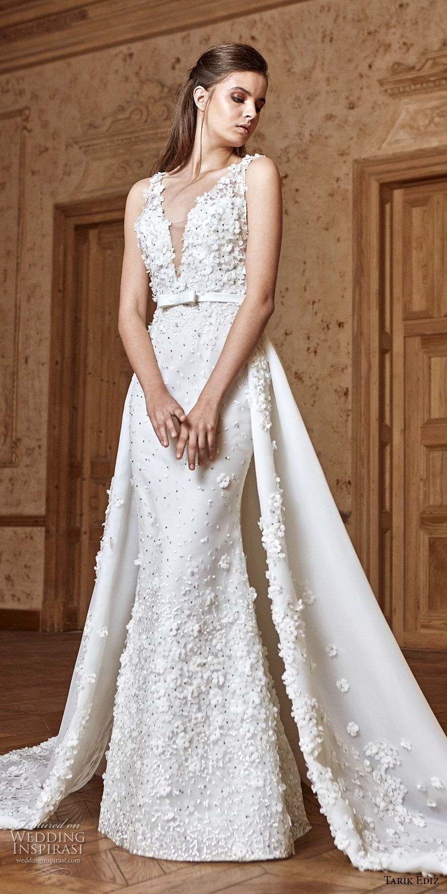 tarik ediz 2017 bridal sleeveless deep v neck full embellishment elegant fit and flare wedding dress a line overskirt chapel train (12) mv