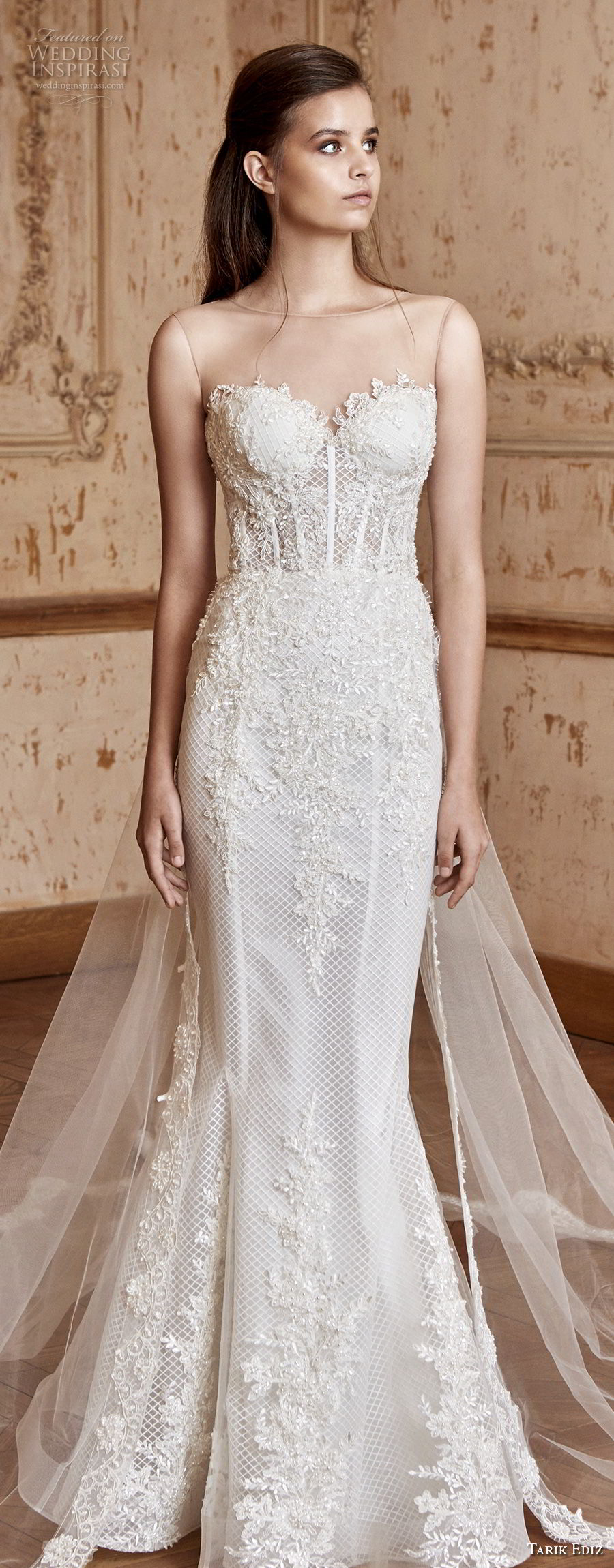 tarik ediz 2017 bridal sleeveless illusion bateau sweetheart neckline full embellishment elegant mermaid wedding dress long sheer train (14) lv
