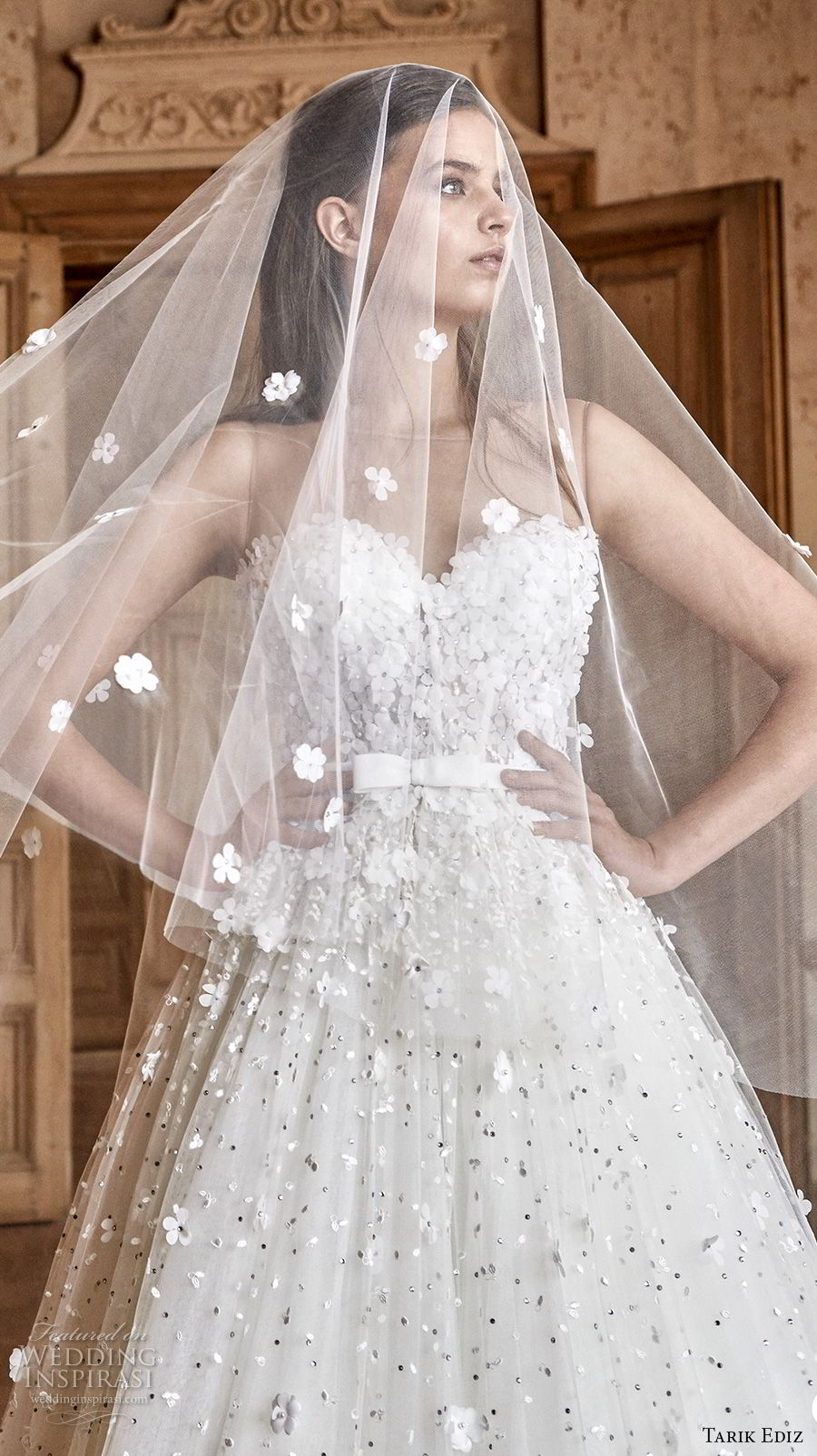 tarik ediz 2017 bridal sleeveless illusion bateau sweetheart neckline full embellishment romantic a line wedding dress (2) zv