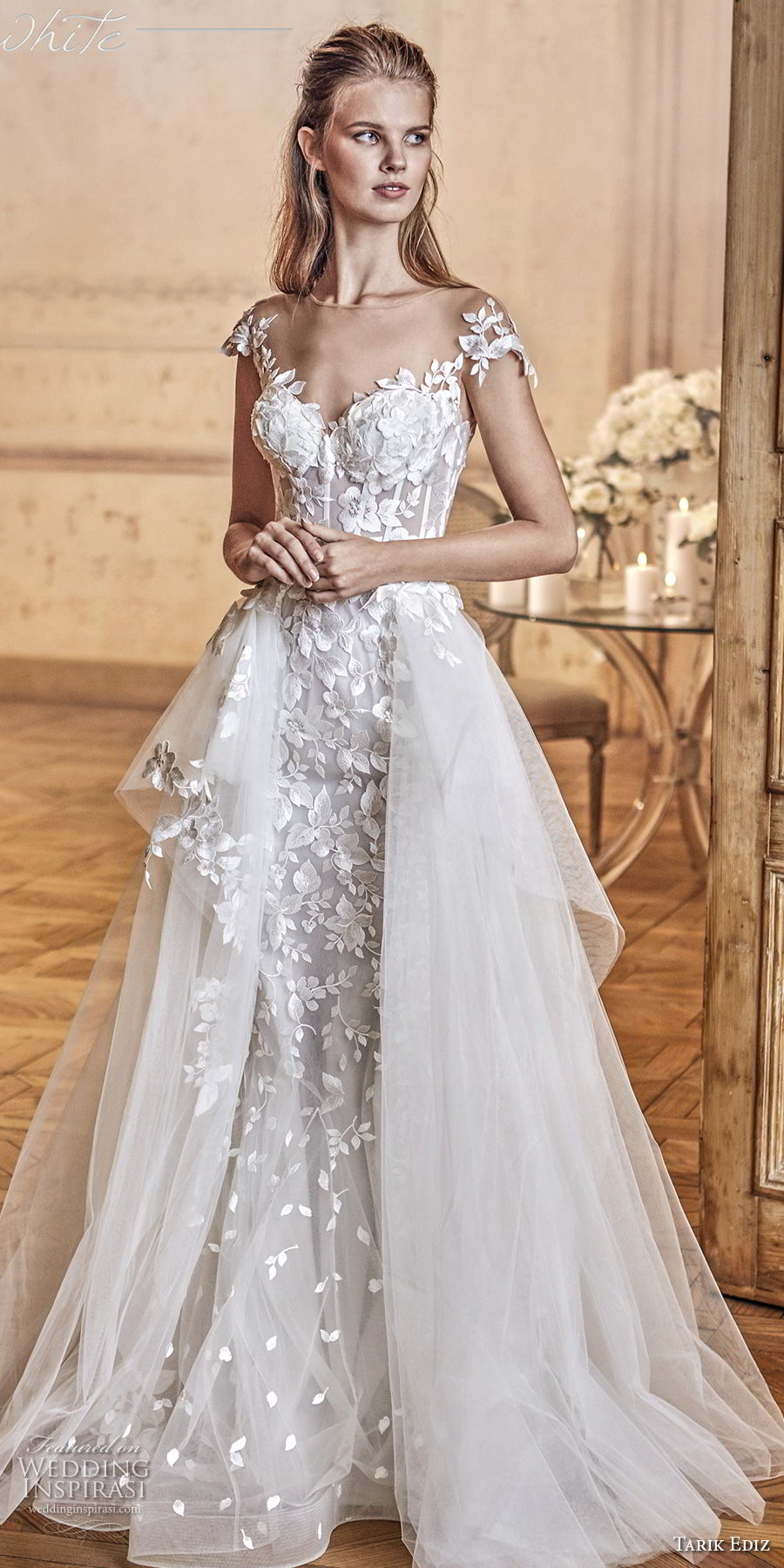 tarik ediz 2017 bridal sleeveless with strap sweetheart neckline heavily embellished bodice tulle skirt romantic a line wedding dress sweep train (3) mv